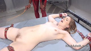 Pale lesbian slave anal toyed