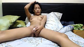 Pretty Thai girl fucks a pink toy and sucks a hard dick