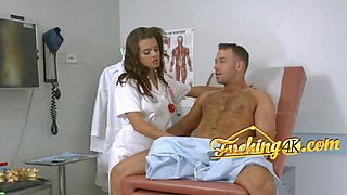 Kinky nurse slurping fat stiff cock