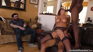 Nerd cuckold jerks off dick while black dudes fuck gorgeous milf Brooklyn Chase