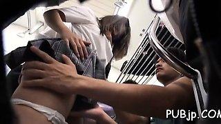 Sexy schoolgirl enjoys public sex in the midst of a teach