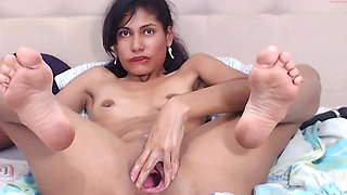 Gisell gapes her pussy like a pro