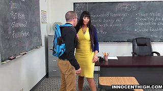 Latina teacher fucks nerdy student