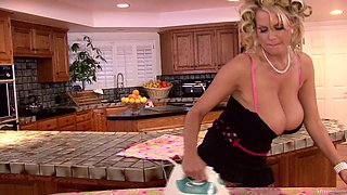 Gorgeous housewife Kelly Madison sucks on a husbands big cock
