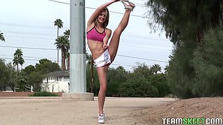 Very Flexible Chick Is Working Out