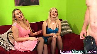 Cfnm blondes show panties