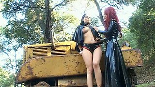 Hot lesbians in outdoor femdom scene