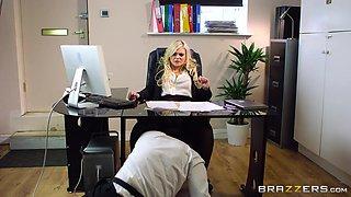 impressing his big tits boss