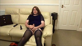 Alison attractive crossdresser - butt plug and cum