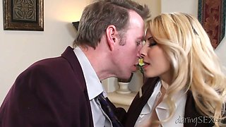 Tremendously hot blonde secretary gives head to her boss