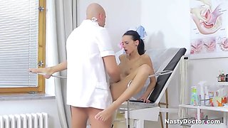 perfectly titted slut takes doctor's cock