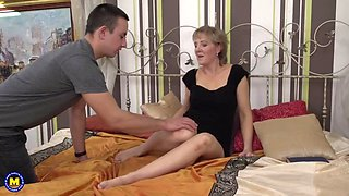 Taboo sex with mature mom and young son