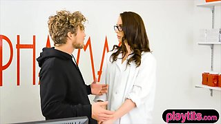 Busty and sexy pharmacist fucked hard by her patient