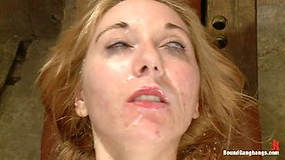 Rough Fucking and DPs for Bounded Blonde in Crazy BDSM Gangbang