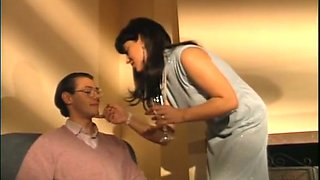 Retro brunette strips and allows a guy to play with her big tits