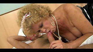 Granny Maid Pleased Her Young Boss