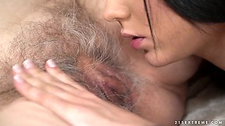 Young brunette can't stop eating ugly hairy pussy of old lesbian Norma