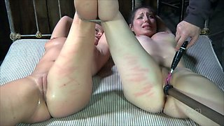 Dissolute slave girls with great bodies get their pussies hammered with sex toys