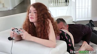 Pretty hot red haired stepdaughter Abbey Rain is fucked by her step daddy