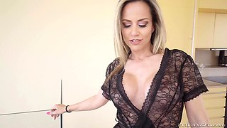 Busty Helena Kramer makes a long cock disappear in her wet pussy