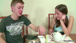 Bro Seduce Petite Step-Sister to Fuck and Creampie in Her