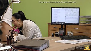 Sweet girl elis dark in glasses has sex at first day of work