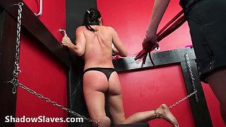 Lesbian submissive Demis fierce whipping and bondage of punished naughty slave g