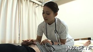 Hot nurse shows off her pussy and gives an oral-service