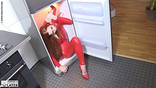 Latex flexibe redhead girl