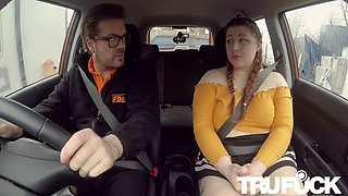 estella bathory in cute bbw crashes the car for real