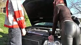 Dirty and sassy European milf fucked by car mechanic