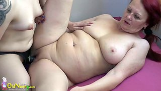 Lusty pale ugly lesbians have strapon which is perfect for twat drilling