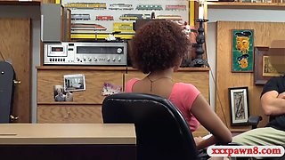 nasty ebony flashes big tits and fucked at the pawnshop