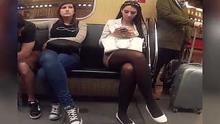pantyhose crossed legs on metro