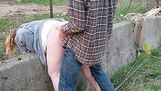 Fette Sau draussen brutal von hinten abgefickt!