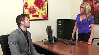 Boss Rides Inter On Her Office Desk