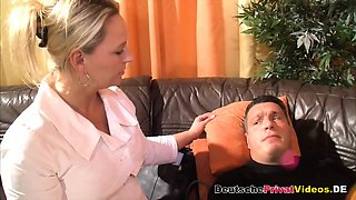 Busty German nurse rides patient's dick