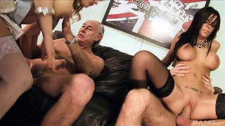 Elegant pornstars in nylon stockings getting ravished in a thrilling foursome