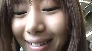 Japanese hottie banged in a public bus