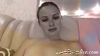 sexy blonde teasing and seducing while rubbing her cunt in front of cam film