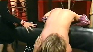 Retro style BDSM action with two naughty blondies and slave girl