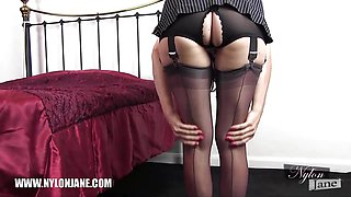 Milf slips sexy long legs inside nylon stockings