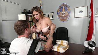 Big titty cougar police officer getting hammered in the office doggy style for freedom