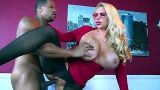 Big tit blonde banged in pantyhose