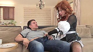 Gorgeous redhead maid gets her twat licked by a fit hunk