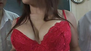 Flirtatious Asian charmer with big tits lets her friends suck her nipples