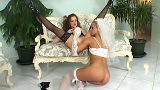 Kinky bride Sandra Shine is having sex with bride maid before wedding