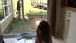 Kinky flatmate masturbates in front of a gardener