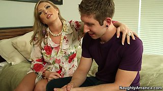 MILF Vicky Vixen fucks a young stud getting nailed bad doggy style