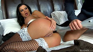 Beautiful black-haired maid gets penetrated by her boss